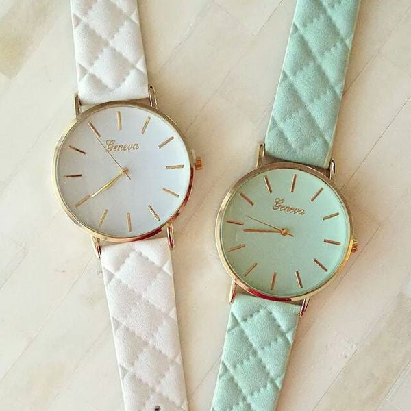 New Fashion Women Dress Watch vintage Leather Lake Blue Watches refined Bracelet wristwatch