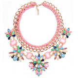 New Fashion Za Brand Crystal Collar Choker Necklaces Flower Vintage Statement Necklaces & Pendants Collier Femme Jewelry