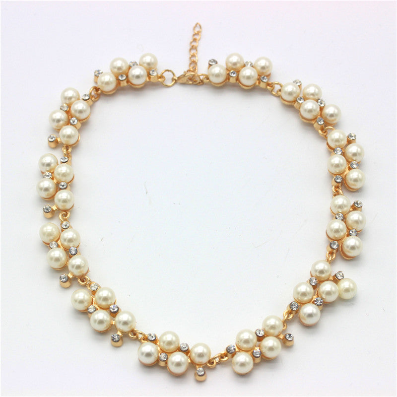 New Good Quality Gold Plated Inlaid With Imitation Diamond Short Choker Pearl Necklace SALE Gift