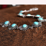 New Hot Boho Collar Choker Silver Necklace jewelry for women Fashion Ethnic style Bohemian Turquoise Beads neck