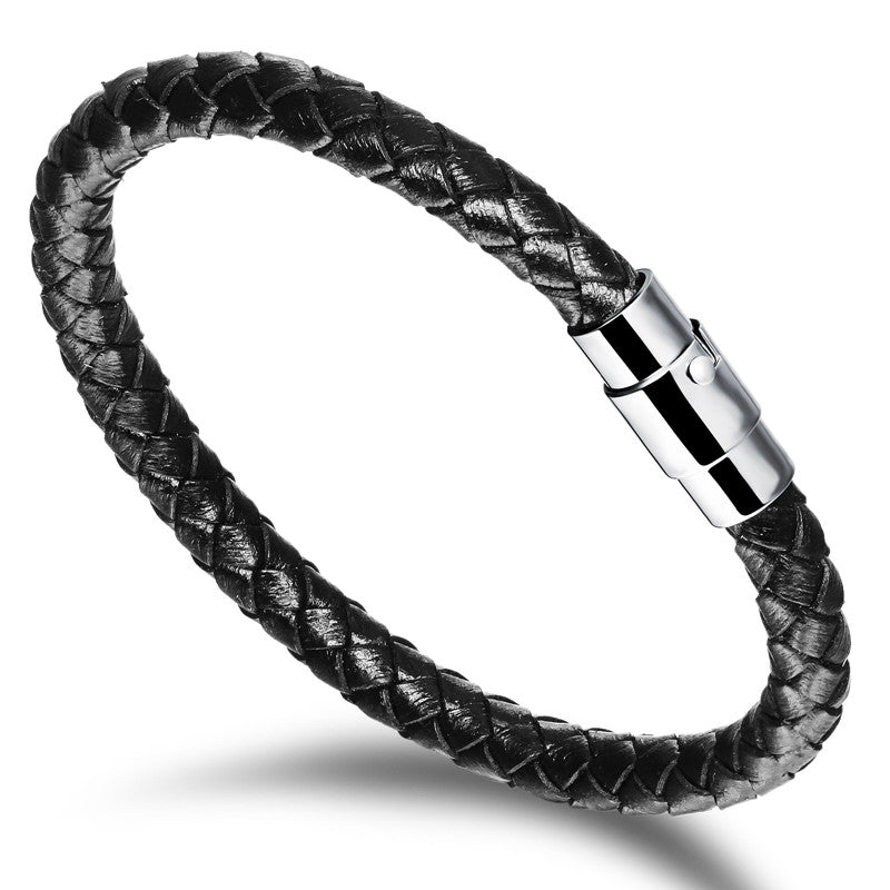 New Hot Fashion Jewelry Men's Bracelets Genuine Leather Stainless Steel Bracelet Man Gifts Vintage Creative Boutique
