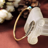 New Items Alloy Feather Antique Gold Filled Classic Vintage Bracelet Bangle