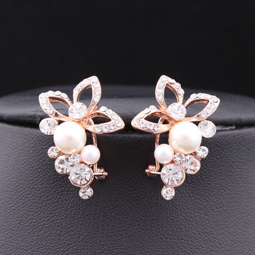 New Jewelry 18K Rose Gold Plated Crystal Rhinestone Pearl Flower Grape Stud Earrings High Quality