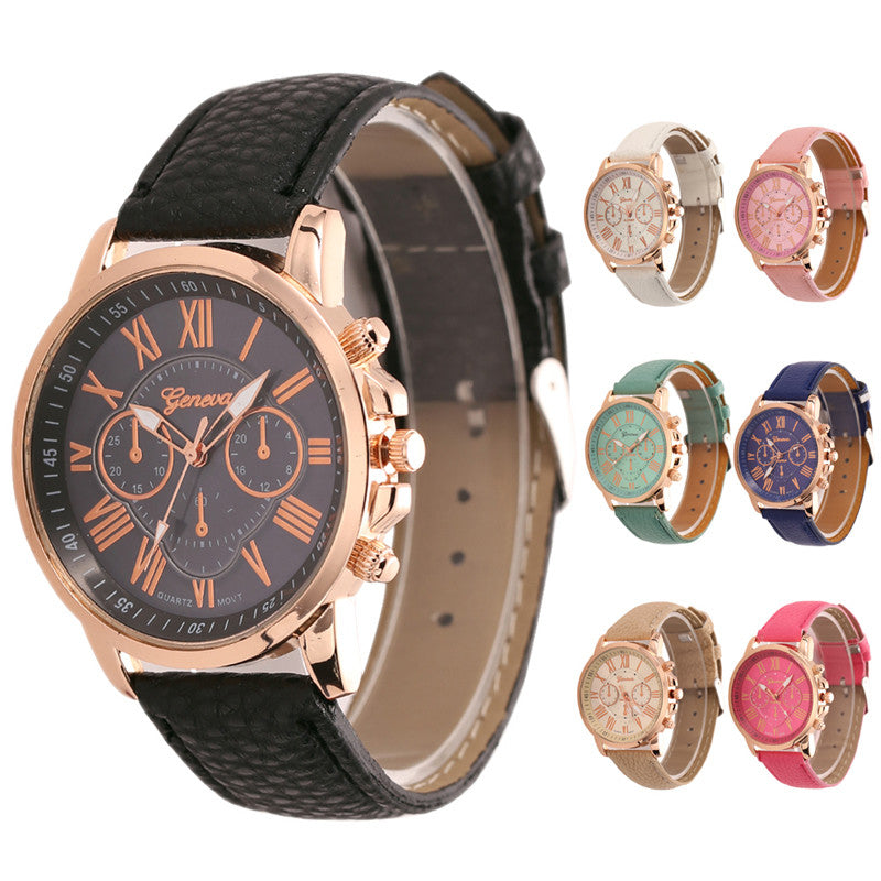 New Luxury Bracelet Geneva Roman Faux Leather Analog Quartz Wristwatch
