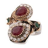 New Luxury Ruby Jewelry Vintage Turquoise Ring For Women Plating Silver And Gold Mosaic Oval Resin Party Anel
