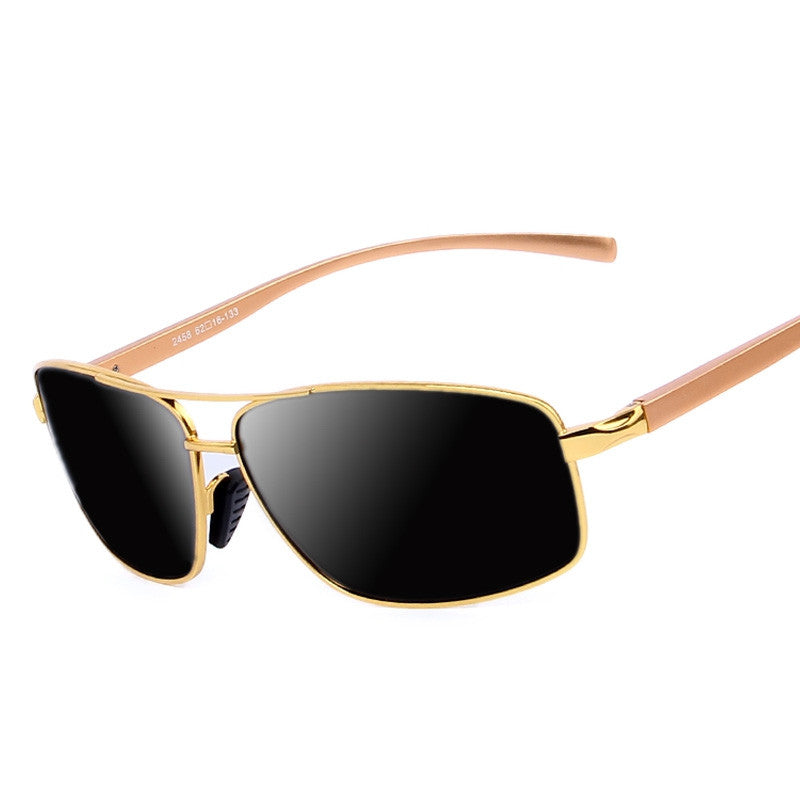 New Men Luxury Polarized Sunglasses Aluminum Alloy Classic Brand Men Sunglasses Gold Frame High quality