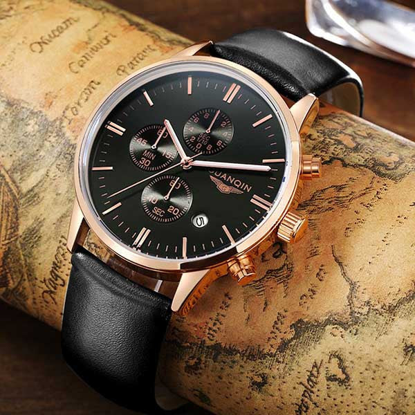Men's Watches New Fashion Luxury Top Brand GUANQIN Chronograph Male Dress Leather Belt Sports Clock Quartz Wrist Watches
