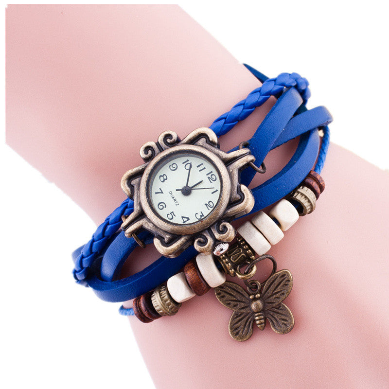 New Original Women dress Leather Vintage Watches ladies Bracelet Wristwatch butterfly Pendant Casual watch clock hours