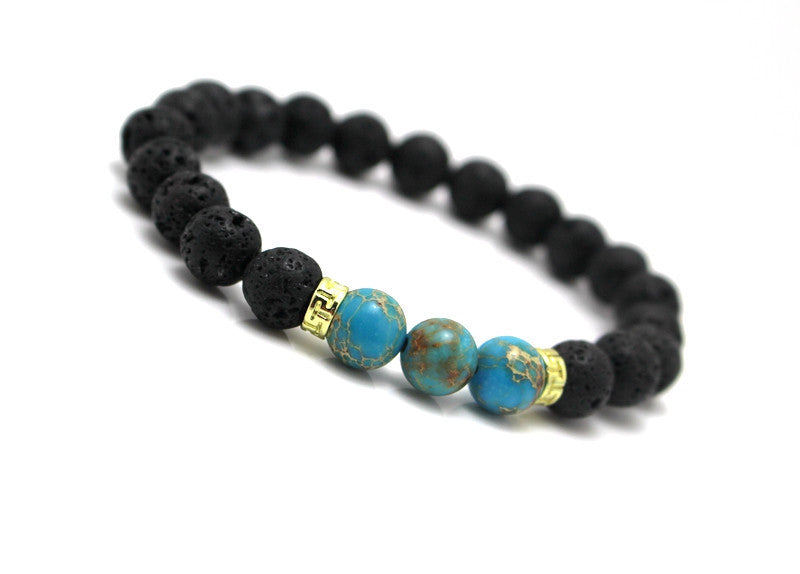 New Products Lava Stone Beads Natural Stone Bracelet Men Jewelry Stretch Yoga Bracelet