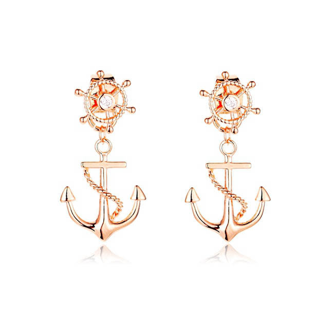 New Rudder Anchor Stud Earrings Gold Plated Front and Back Double Sided Earrings for Women