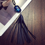 New Style Leather Pendant Black Long Tassel Multi Layer Necklace Gold for Women Jewelry