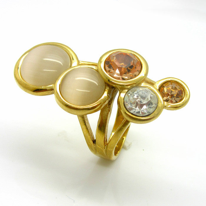 New Style Pink/Blue/White Round Opal Ring 18 k Gold Plated High-grade Fashion Delicate And Charming Woman Rings