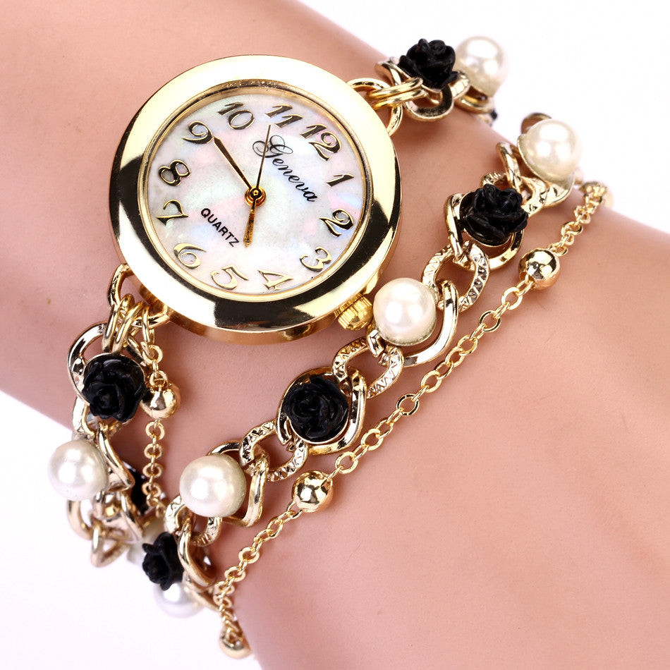 New Style Rose Pearl Chain Geneva Bracelet Wristwatch Women Dress Watch Brand Watches Chain Crystal Watch