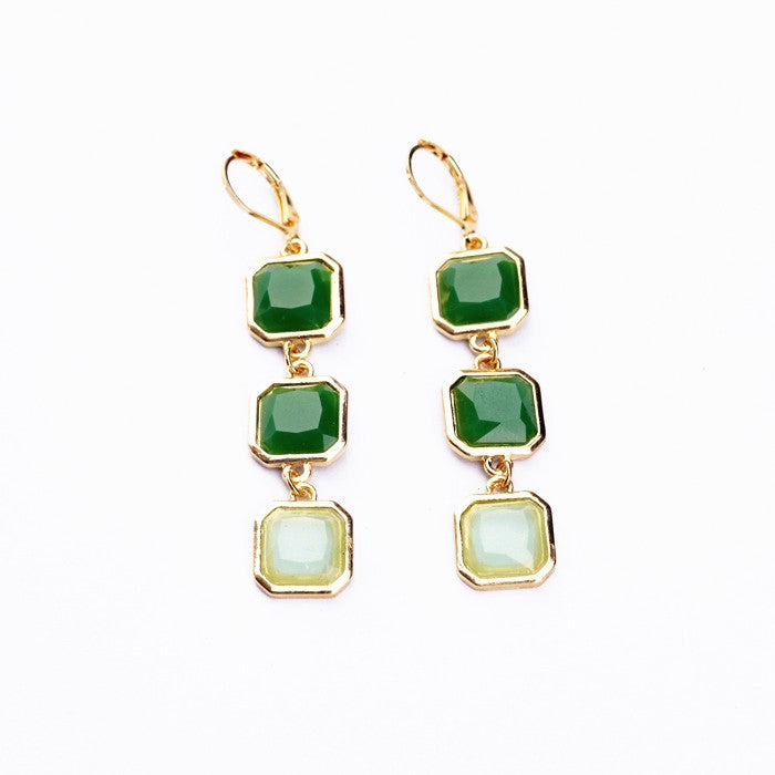New Styles Fashion Jewelry Long Earrings Light Green Square Pendant Earrings Christmas Gifts