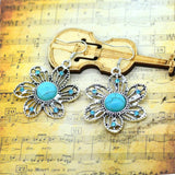 New Turquoise Earrings Charming Flower Shape Crystal Women's Dangle Pendientes Earrings for Woman Brincos Fine Jewelry