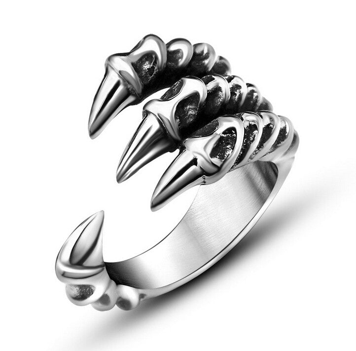 New US Size 7-12 Punk Rock Stainless Steel Mens Biker Rings Vintage Gothic Jewelry Silver Color Dragon Claw Ring Men