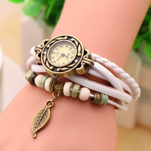 New Vintage Quartz watch Watchs Women Wrap Tree leaf Pendant Synthetic Leather Bracelet Wrist Watch