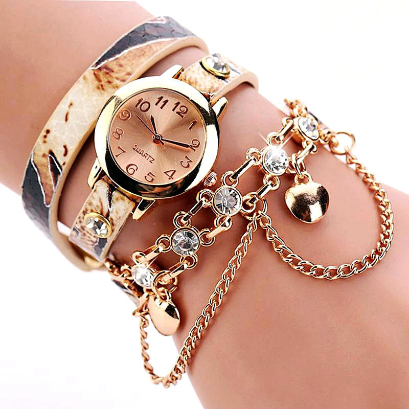 New Women Dress Watches Quartz Wrist Watch Snake Leather Bracelet Gold Watches Luxury Drill Women Top Brand