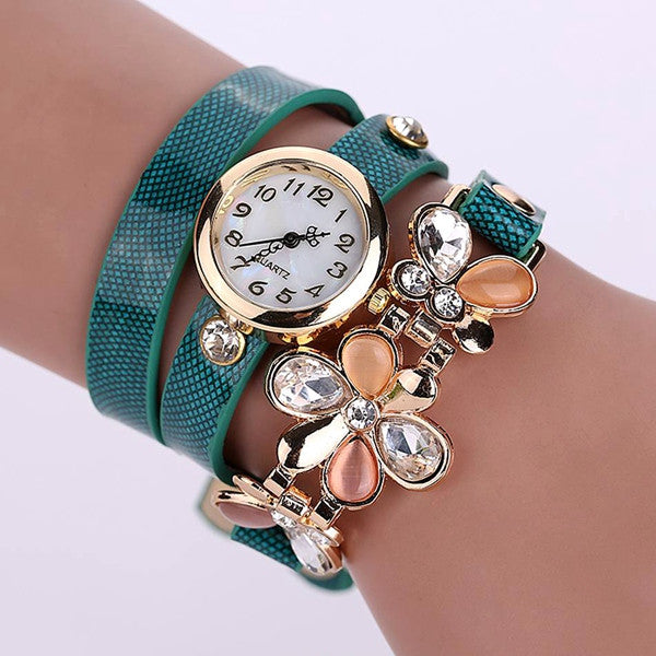 New Women Leather Strap Watches Flower Bracelet Women Dress Watch Wristwatches Top Brand Opal Girl's Gift Fashion