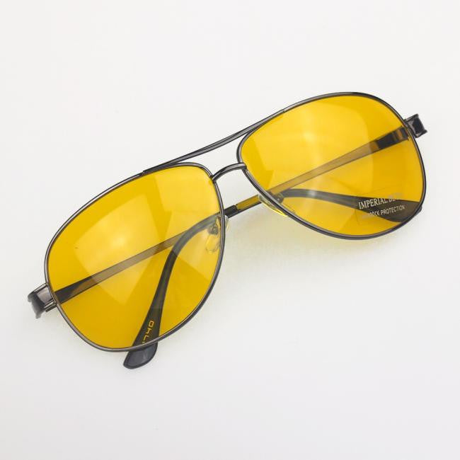 New Yellow HD Night Vision Driving Anti Glare Glasses Eyewear sun glass gun Metal Frame men women sunglasses