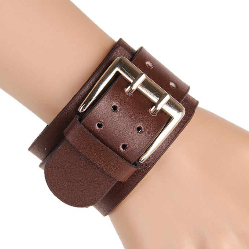 New brand Retro unisex Wide Leather Bracelets Punk Big Double Buckle Bracelet bangles for women men