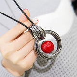 New circles simulated pearl ball pendant long necklace women black chain fashion jewelry