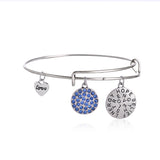 New famous Brand Charm Bangles Bracelets Summer Style Setting Crystal Disc Adjust Bangles For Women Gift Jewelry