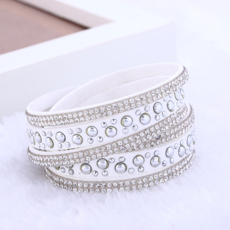New foreign Aliexpress sell fashion and personality, selling leather hot drilling and multilayer bracelet