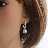 New pearl beads earring platinum plated zircon cc drop earrings for women 18k gold earings fashion bijoux