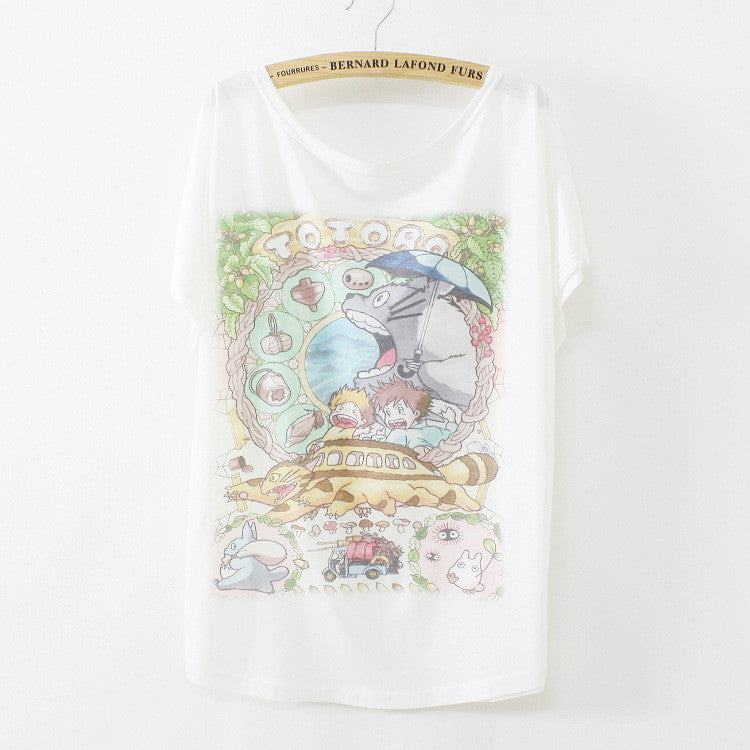 New summer T shirt women style thin plus size loose batwing sleeve women's T-shirt cat kiss Fish print Top Tees