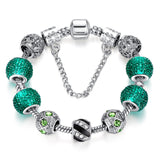 Newest Elegant Silver DIY Charm bracelet for Women Chain Green Beads Fashion Jewelry Fit Original Bracelets Best Gfit