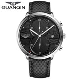 Newest Arrival 2016 GUANQIN Watches Men Luxury Top Brand Full Black Sport Quartz Watch Men Wrist Watch With Stopwatch
