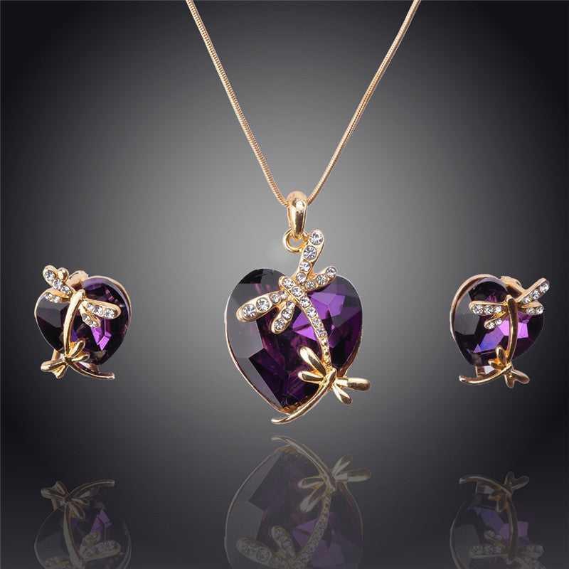 Newly Women 14k Gold Filled Austrian Crystal Animal Pendant Four colors Necklace Earrings Party New Jewelry sets