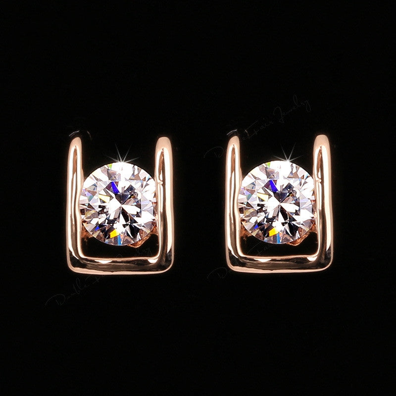 OL Style AAA+CZ Diamond Stud Earrings 18K Rose Gold/Platinum Plated Crystal Fashion Wedding Jewelry For Women/Lady