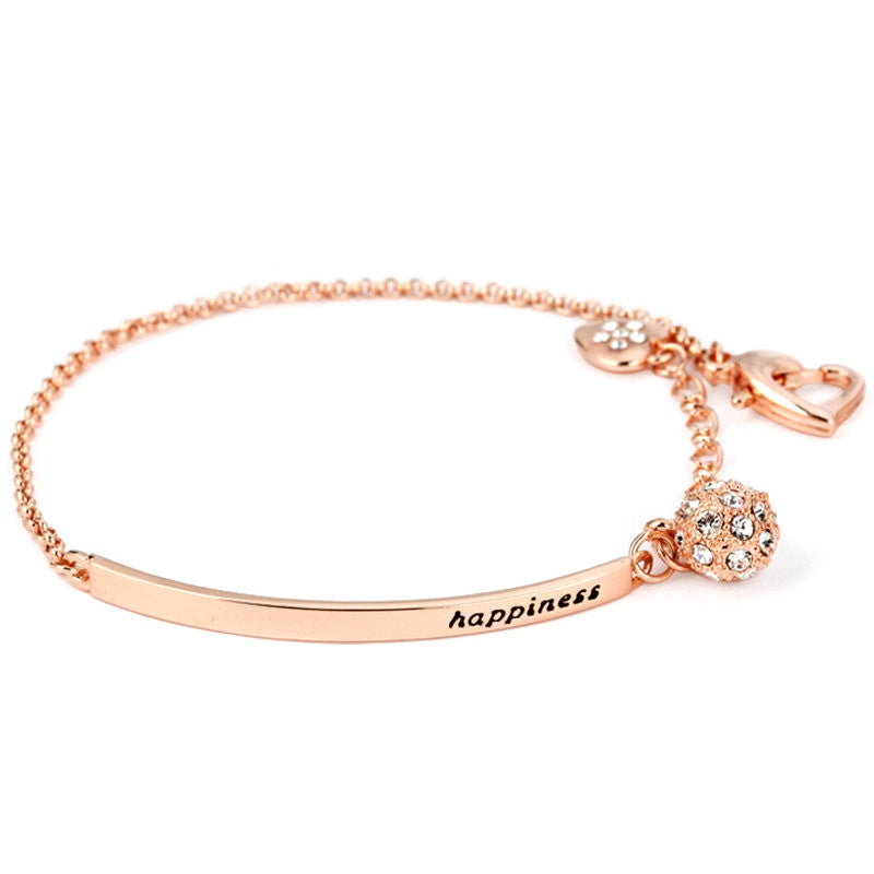 OL Style CZ Rose Gold Plated Ball Fashion Party Charm Bracelets & Bangles Jewelry Wholesale Top Quality