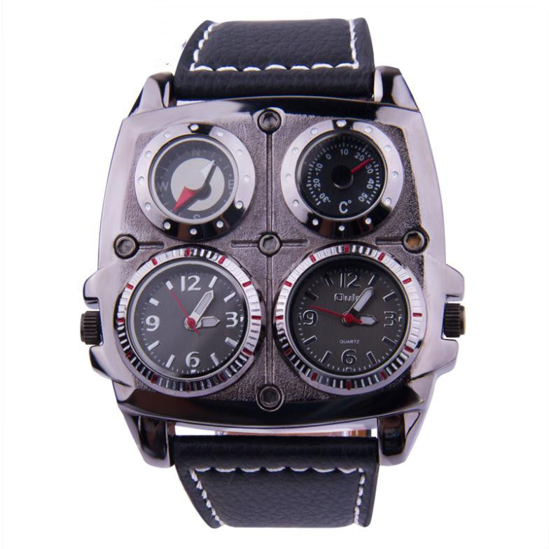 Army Military Watch Multiple Time Zone Thermometer Compass Voyager Russia Clock