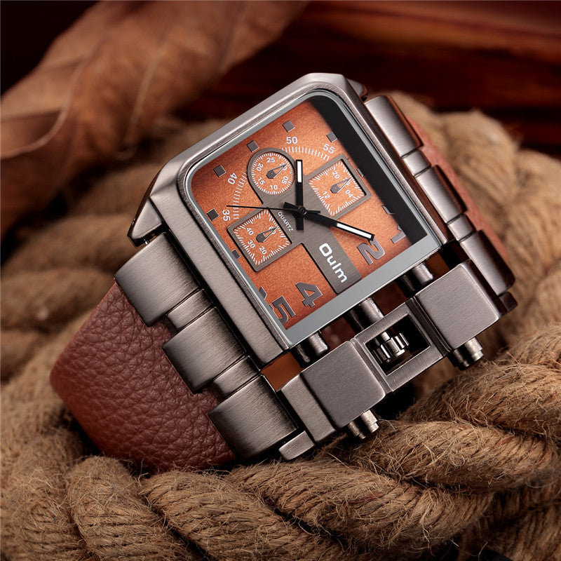 OULM Brand Original Unique Design Square Men Wristwatch Wide Big Dial Casual Leather Strap Quartz Watch Male Sport Watches