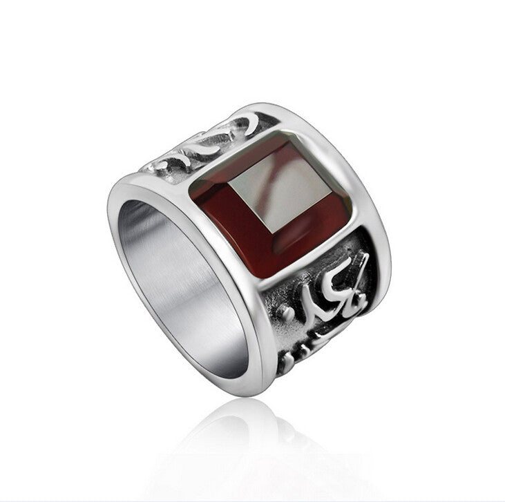 Om Mani Padme Hum Mens Red Ruby Gem Ring Wide Titanium Steel Rings For Men Religious Man Jewelry Accessories Best Friends Anel
