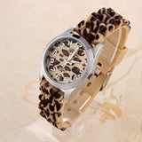 Geneva Fashion Casual Watch Leopard gold color Rubber Band Women Wristwatches Analog Ladies Quartz watch