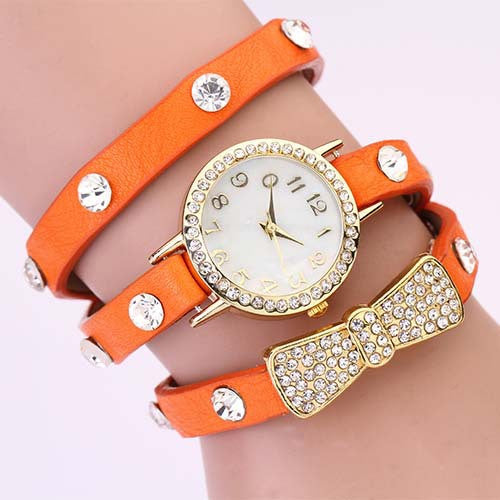 New Arrivals Women Leather Strap Watches Set Auger Bowknot Rivet Bracelet Women Dress Watches Wristwatches Luxury Drill
