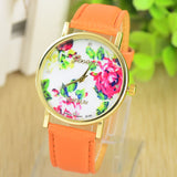 Fashion Leather GENEVA Rose gold Flower Watch Women Dress Watch Quartz Watches
