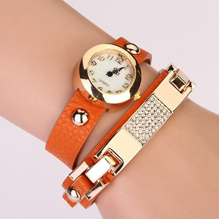 New Arrival Women Vintage Self-Wind Watches Bracelet Women Dress Watch Wristwatches Luxury Fashion Rhinestone Leather
