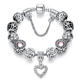 Original European Silver Plated Murano Glass Beads Charms Bracelet Fit Original Bracelet for Women Authentic Jewelry