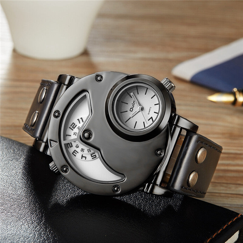 Oulm Male Casual Leather Strap Military Wristwatch Clock Mens Watch Top Brand Quartz-watch relogio masculino