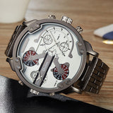 Oulm Male Military Watches Golden Oversized Big Quartz Watch Top Brand Men Full Stainless Steel Wristwatch relogio masculino