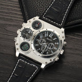 Oulm Mens Designer Watches Luxury Watch Male Quartz-watch 3 Small Dials Leather Strap Wristwatch relogio masculino