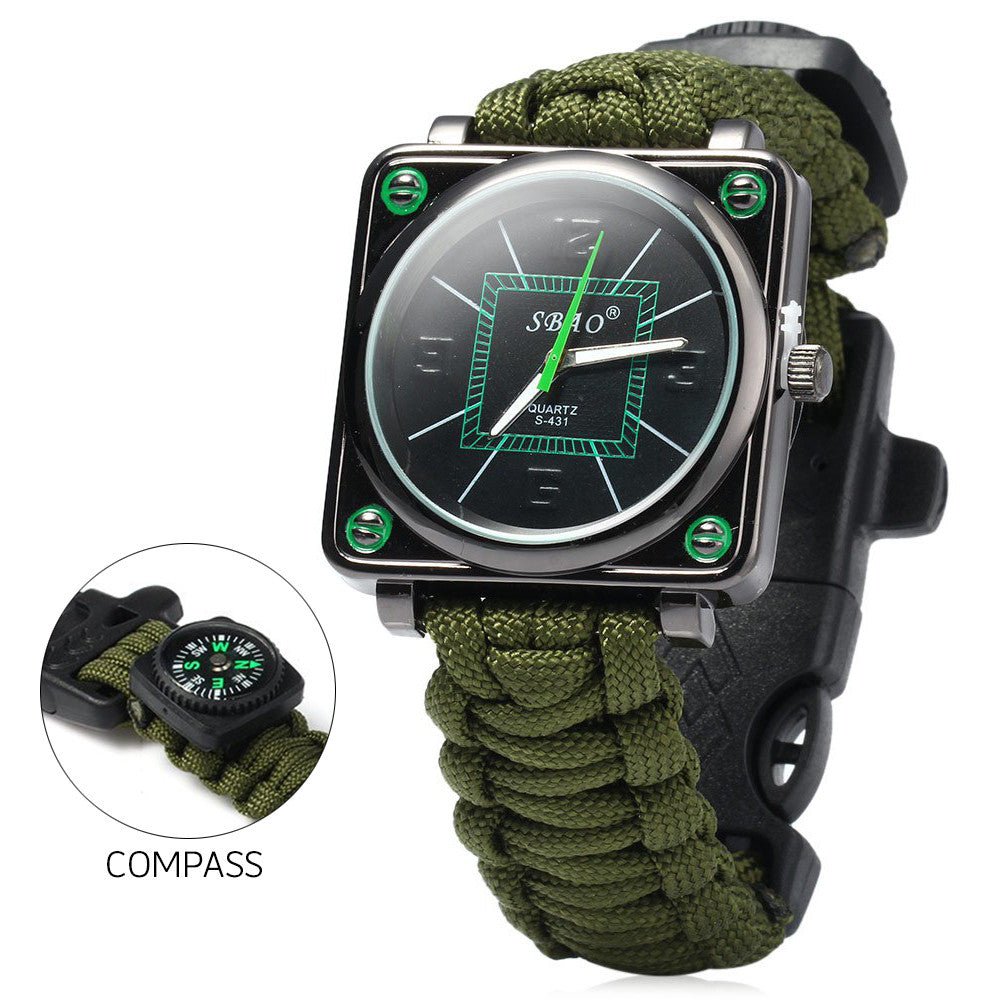 Outdoor Sport Men Watch Survival Gear Escape Cord Emergency Survival Bracelet Wristwatch Rope Flint Whistle Scraper Buckle