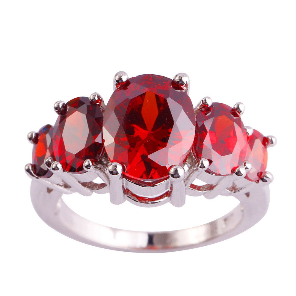 Oval Cut Garnet Red Silver Ring Beauty Women Party Fashion Jewelry