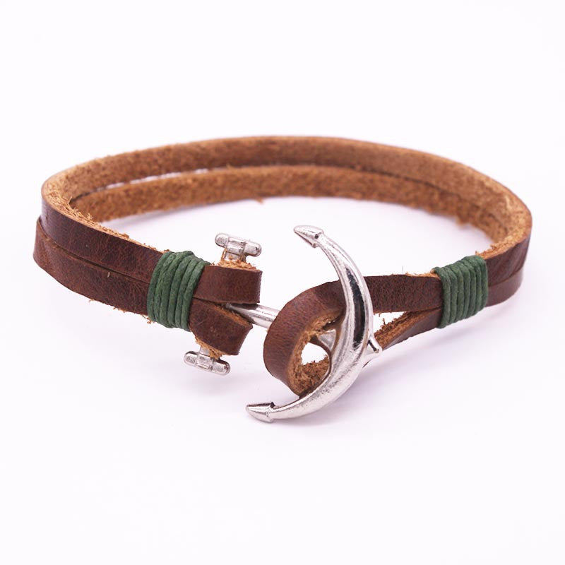 PU Leather Men Bracelet Jewelry Man Anchor Bracelet Wristband Wrap Charm Bracelet For Male Accessories Hand Cuff