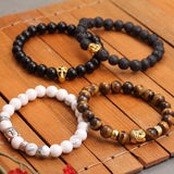 Lava Buddha Skull head Beads Bracelets Natural Stone Bracelets For Women Men Jewelry pulseras Gold Color